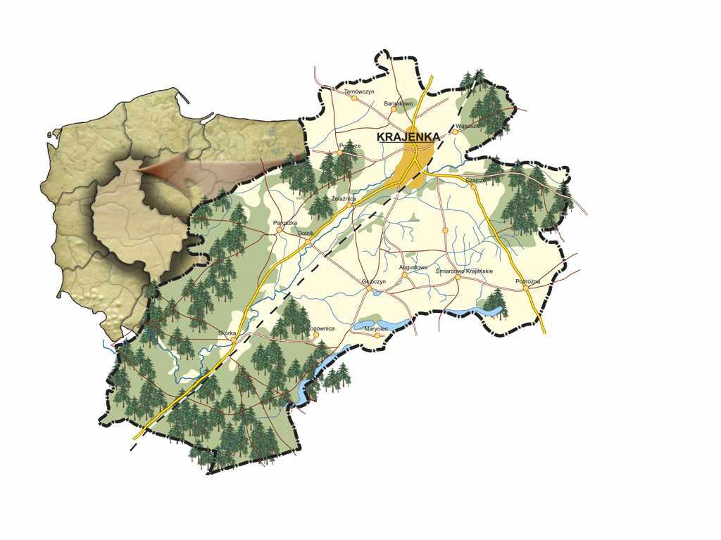 Mapa gminy Krajenka